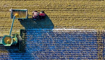 aerial view of tractors harvesting wheat