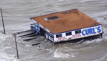 a restaurant being flooded by a natural disaster