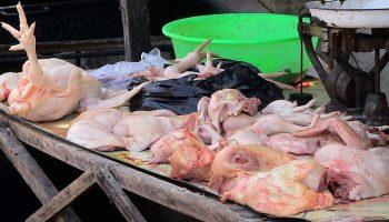 raw chicken being sold in an outdoor market