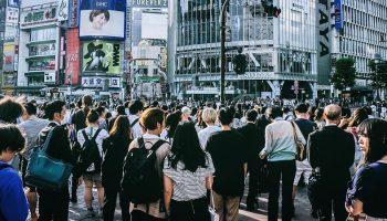 crowd of people in a Korean street