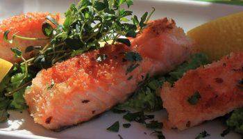 culinary fish and lemons on a plate