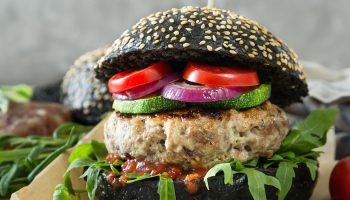 vegan hamburger with black buns