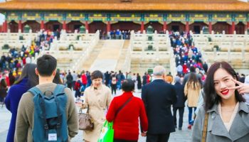 Asian tourists in the Forbidden Palace
