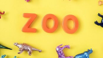 "the words ""zoo"" near toy animals"