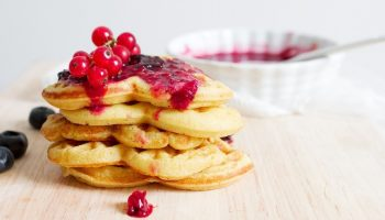 waffles with raspberries and blueberries