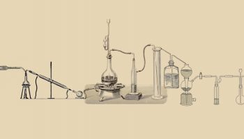 a drawing of scientific instruments connecting to each other