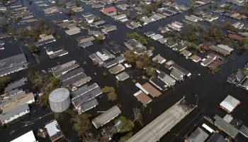 aerial view view of a flooded American suburbs
