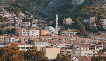 Turkish city with houses and a mosque