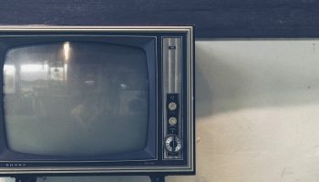 turned off old fashioned television set