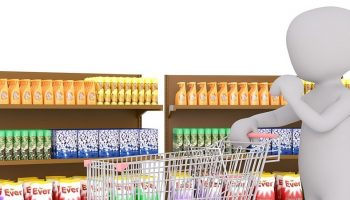 a cartoon man with a shopping cart in a supermarket detergent aisle