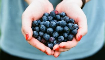 woman clasping blueberries in her hands