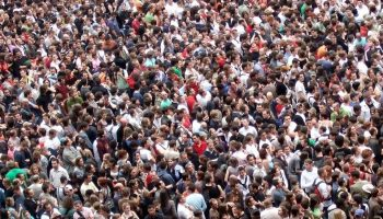 a large crowd of people pressed together