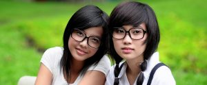two Chinese students with glasses