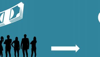 cartoon representation of how crowdfunding works