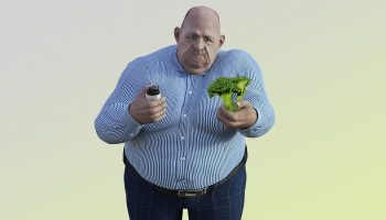 a cartoon image of an obese man choosing between broccoli and a cupcake
