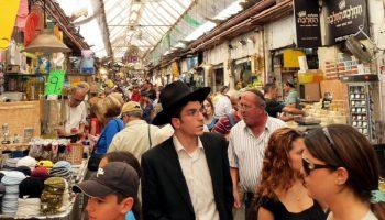 Israeli market full of Orthodox Jews