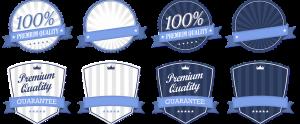 cartoon seals claiming premium quality and guarantees