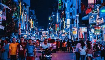 a bustling street center in Ho Chi Minh City
