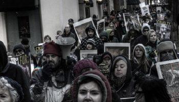 animal activist march against fur