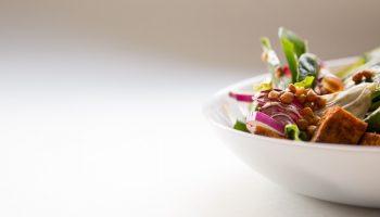 plate of tofu and vegetarian food