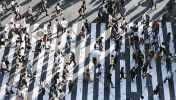 aerial view of people walking over a zebra crossing