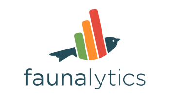 "the word ""faunalytics"" and logo of a bird whose wing is made up of multi-colored bars as in a bar graph"