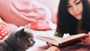 Japanese woman reading her book on her bed next to her cat