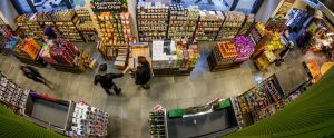 overhead fisheye lens grocery store shopping