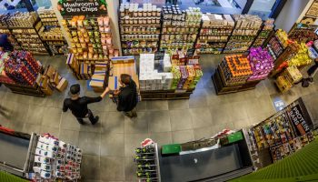 overhead fisheye lens grocery store shopping
