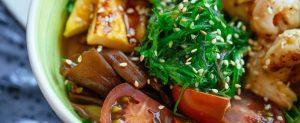 bowl of vegan asian food