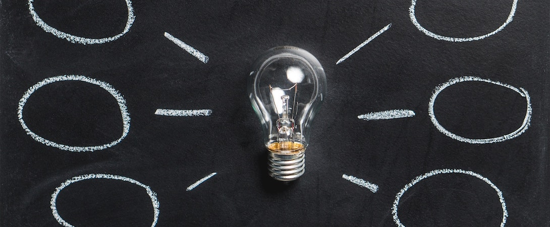 idea bulb blackboard