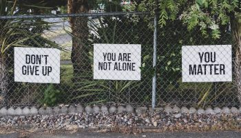signs on a fence