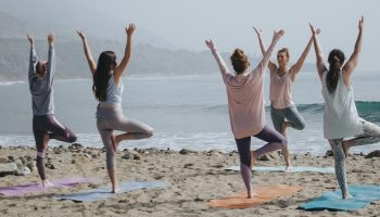 yoga lesson on the beach