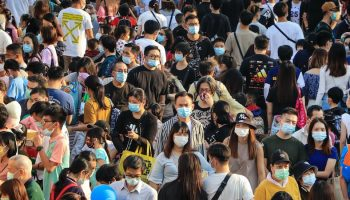 chinese folks masked