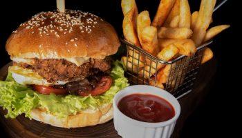 burger on black background
