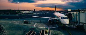 plane docked at gate
