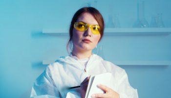 scientist blue background